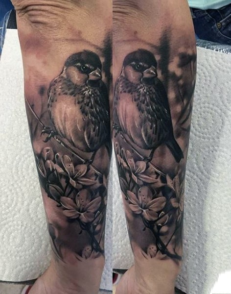 Gorgeous Grey Sparrow And Blossoms Tattoo Guys Forearms