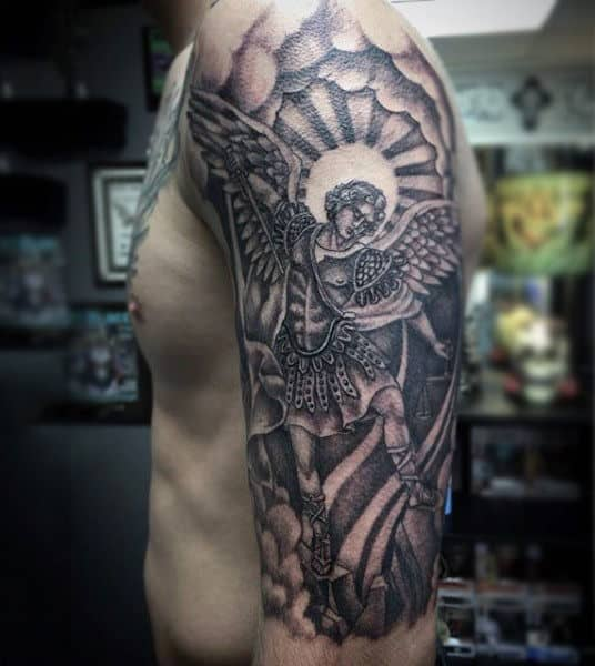 Gorgeous Guardian Angel With Sword Tattoo Mens Upper Arms