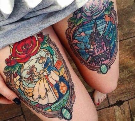 Gorgeous In Full Color Disney Beauty And The Beast Tattoo