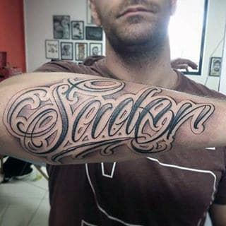 Gorgeous Lettering Tattoo Male Forearms