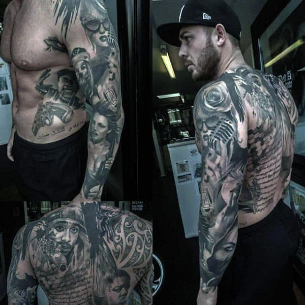 Gorgeous Manly Grey Tattoo Full Back And Sleeves