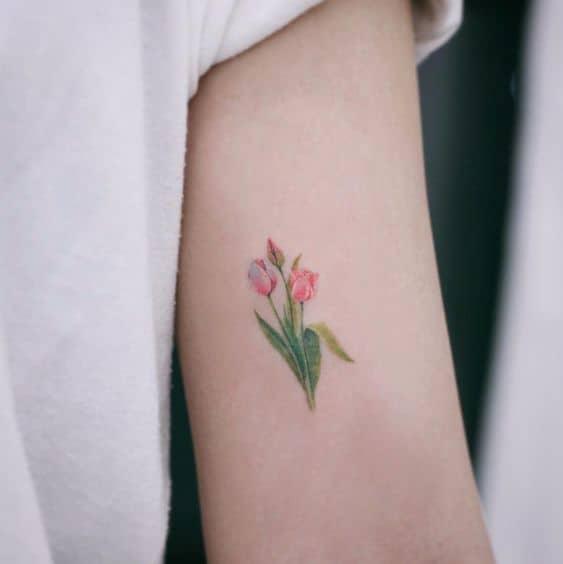 Gorgeous Red Tulip Tattoo