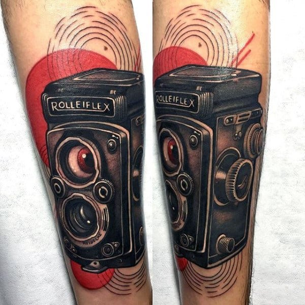 Gorgeous Rolleiflex Camera Tattoo Male Forearms