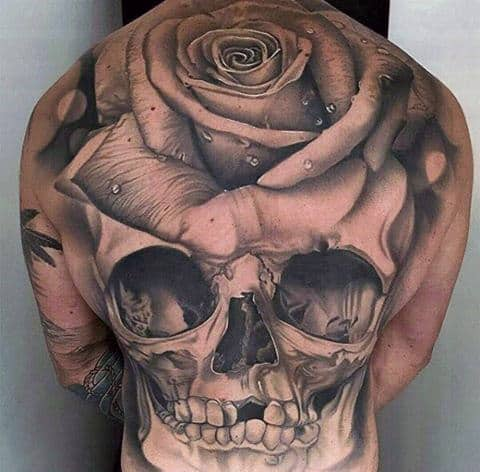 Gorgeous Rose Headed Skull Tattoo Males Full Back