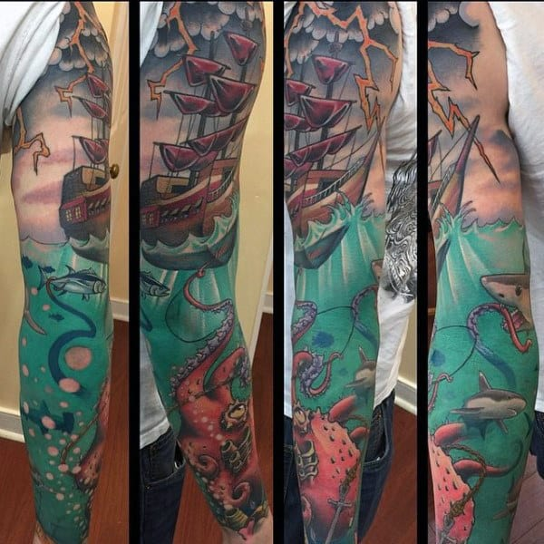 Gorgeous Ship And Sea Creatures New School Tattoo Male Full Sleeves