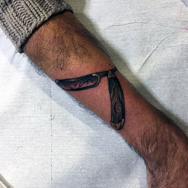 Gorgeous Straight Razor Tattoo Male Forearms