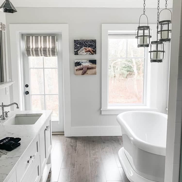 Gorgeous White Farmhouse Bathroom Candidlydeena