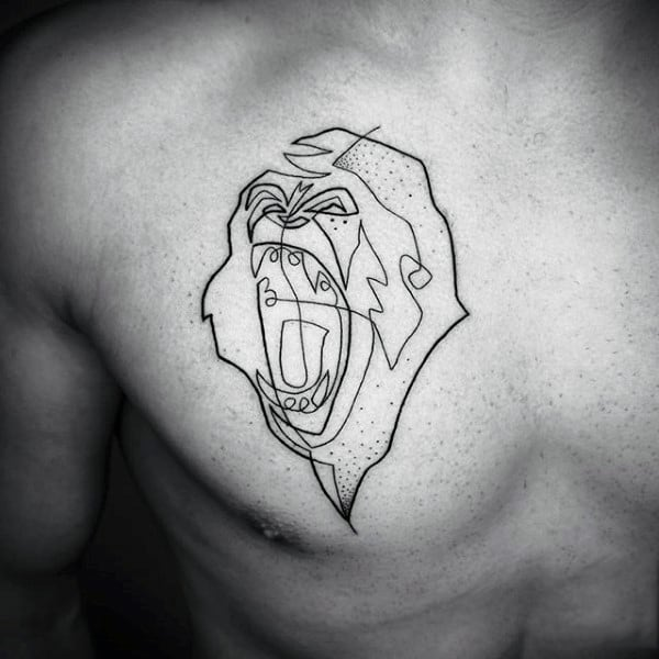 Gorilla Chest Tattoo Out Lines For Men