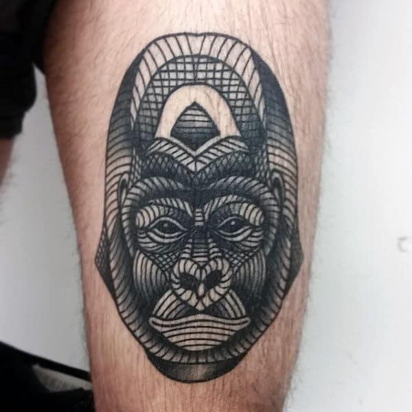 Gorilla Line Work Mens Tattoo On Tigh