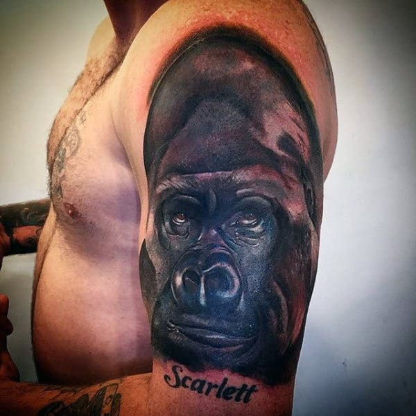 Gorilla Upper Arm Guys Tattoo Designs