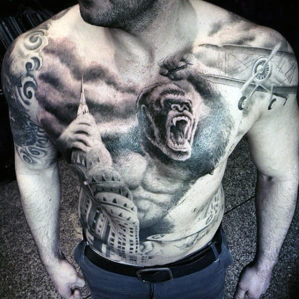 Gorilla With Empire State Building Mens Cool Chest Tattoos