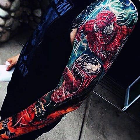 100 spiderman tattoo design ideas for men wild webs of ink