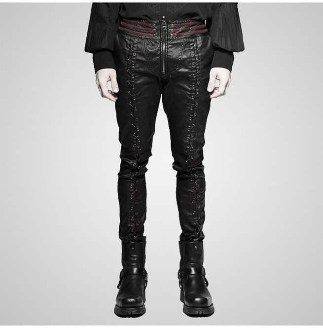 Slim-fit black leather pants