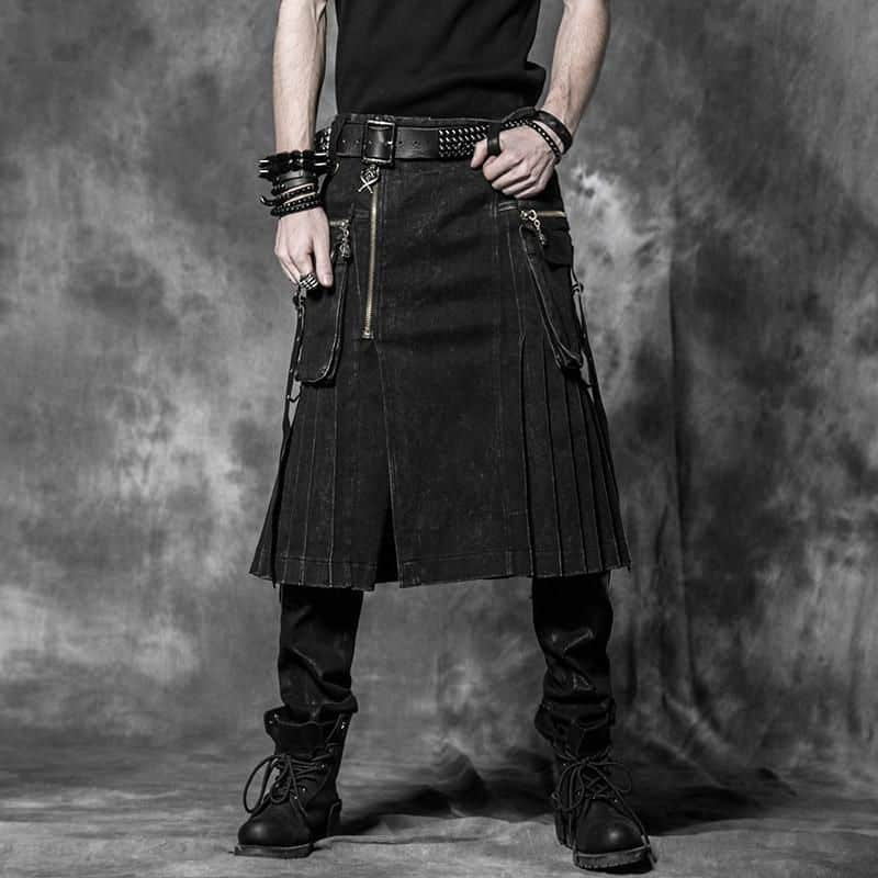 Man in long black denim kilt