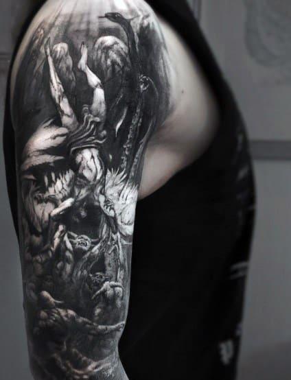 50 gothic tattoos for men dark body art design ideas. Black Bedroom Furniture Sets. Home Design Ideas