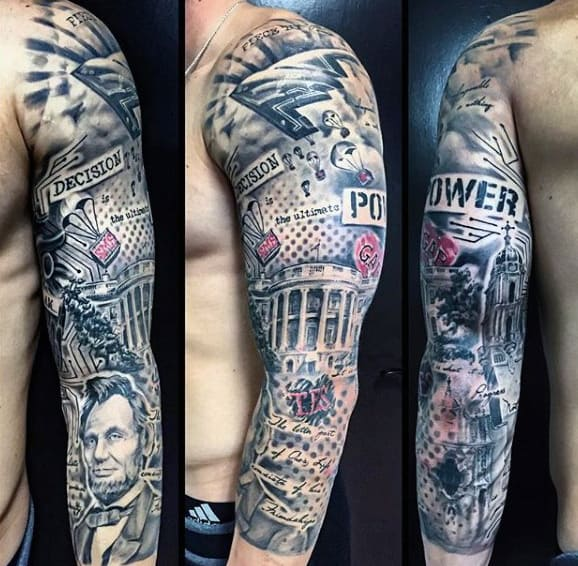 Goverment American Trash Polka Guys Sleeve Tattoos