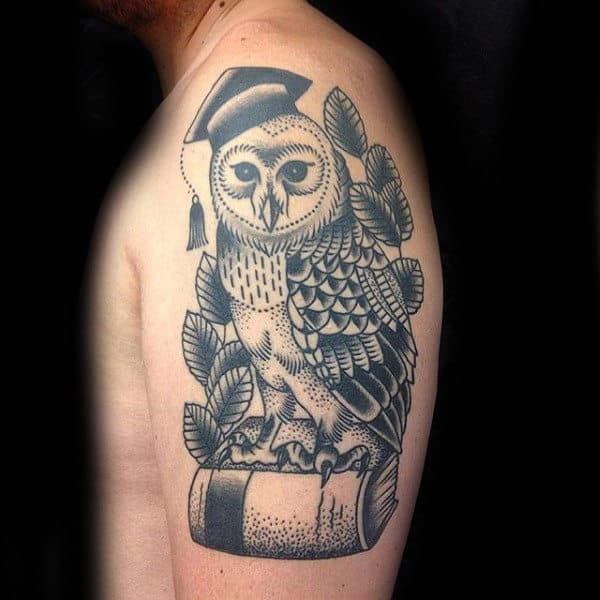 Graduate Owl Book Tattoo Mens Upper Arms