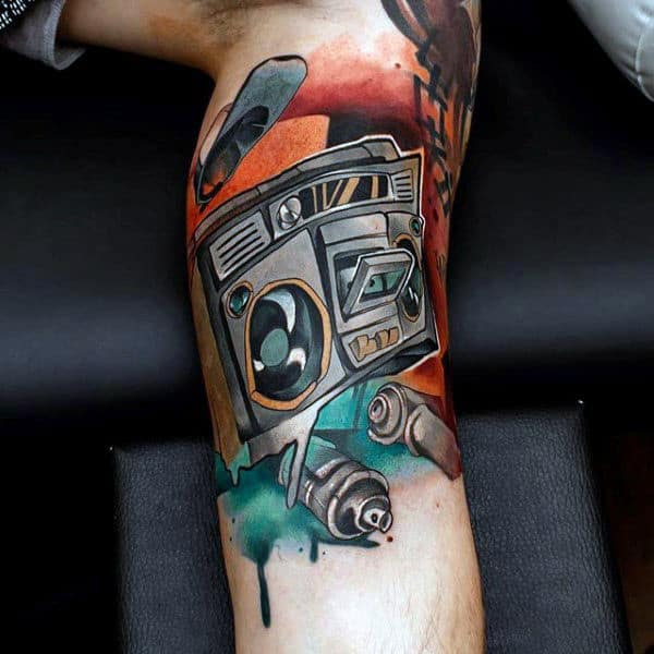 Graffiti Mens Boombox Leg Sleeve Tattoos