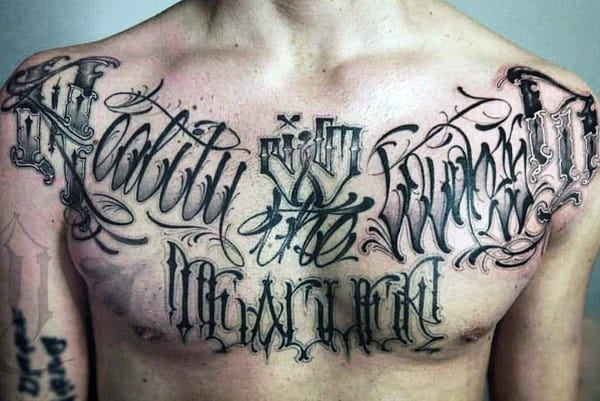 Graffiti Script Mens Upper Chest Tattoos