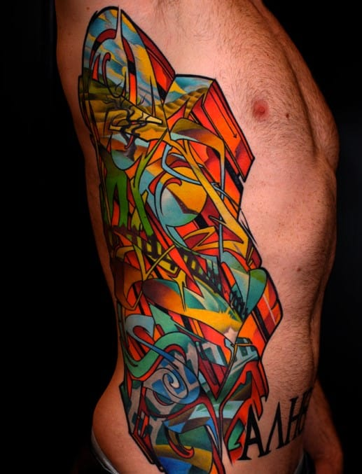 Graffiti Tattoo Rib Cage On Men