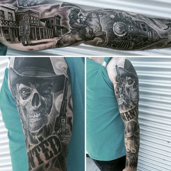 Grahpic Sleeve Tattoo Of Western Shootout With Skeleton Scene On Man
