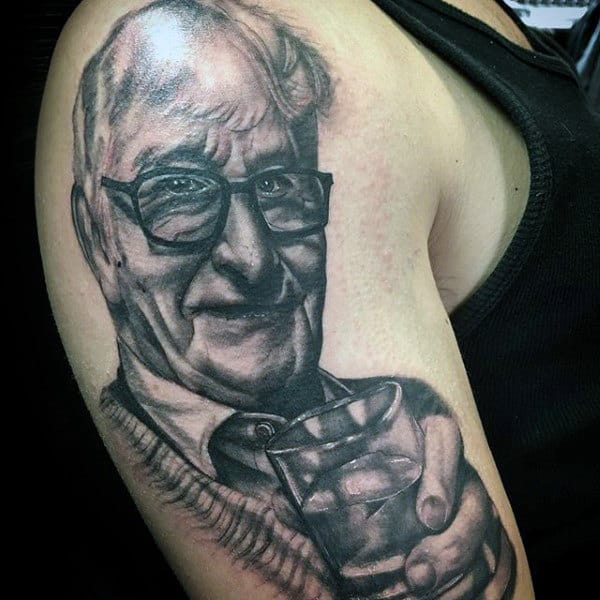 Grandfather Holding Glass Mens Upper Arm Memorial Tattoo Designs
