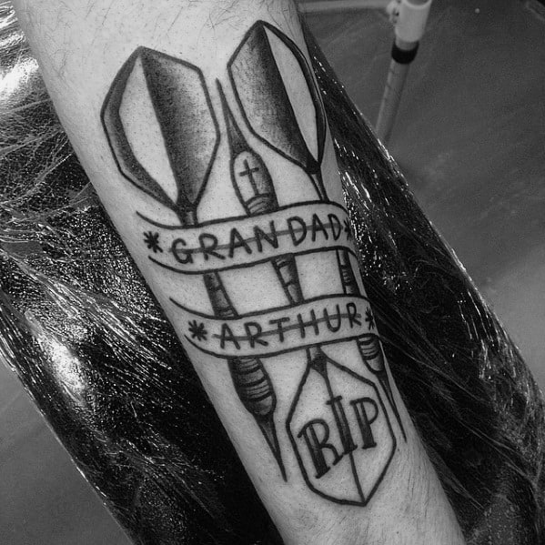 Grandfather Memorial Dart Mens Tattoo Designs On Inner Forearm