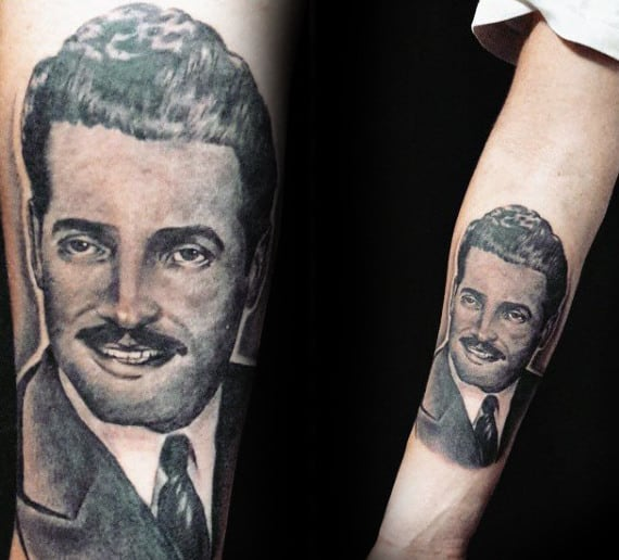 Grandfather Wearing Suit And Tie Mens Memorial Forearm Tattoo