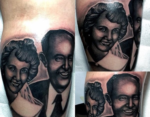 Grandpa And Gradma Mens Memorial Portrait Tattoo