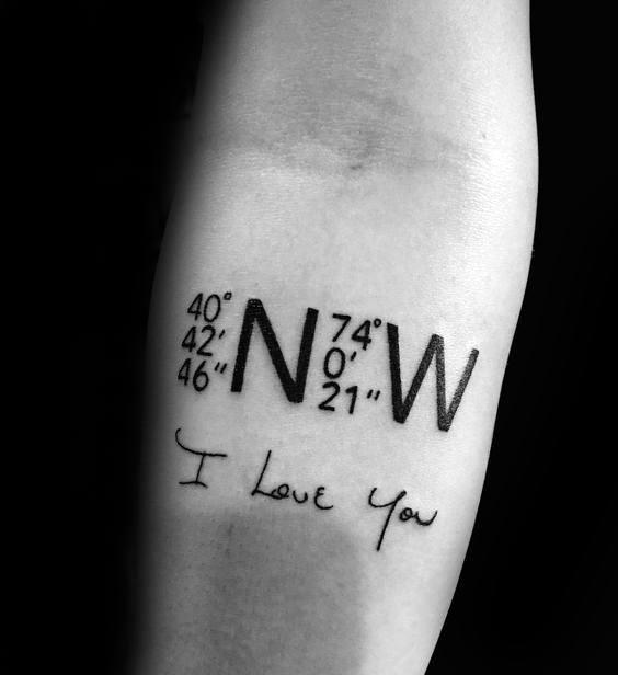 Grandpa Home Geo Coordinates Mens Inner Forearm Tattoo