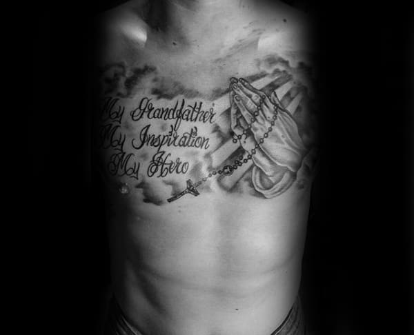 Grandpa Memorial Tattoo With Praying Hands Mens Chest Tattoos
