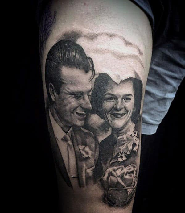 Grandparents Memorial Mens Thigh Tattoos With Realistic Portrait Design