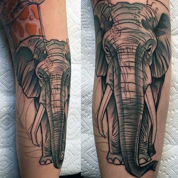 Graphic Art Elephant Tattoo Males Forearms