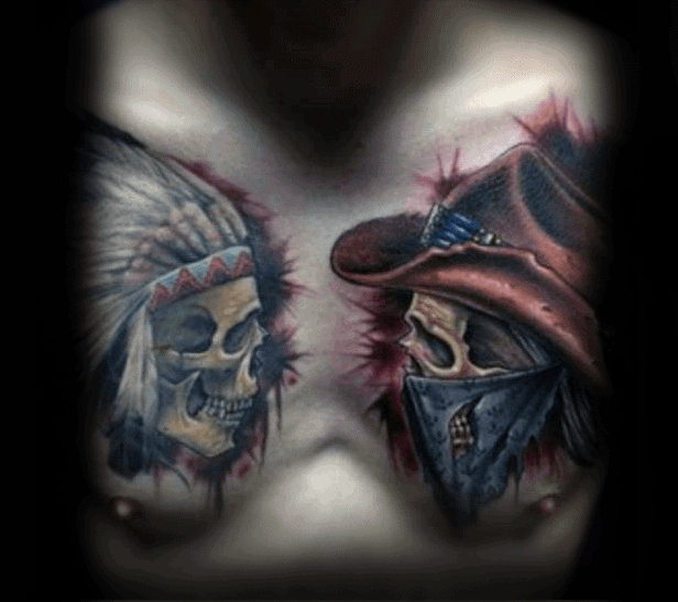 Graphic Cowboy Indian Skull Detailed Chest Tattoo On Guy
