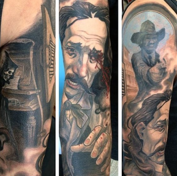 Graphic Detailed Scene Of Cowboy Shooting Man Tattoo For Males