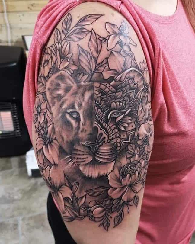 Graphic Flower Lioness Tattoo