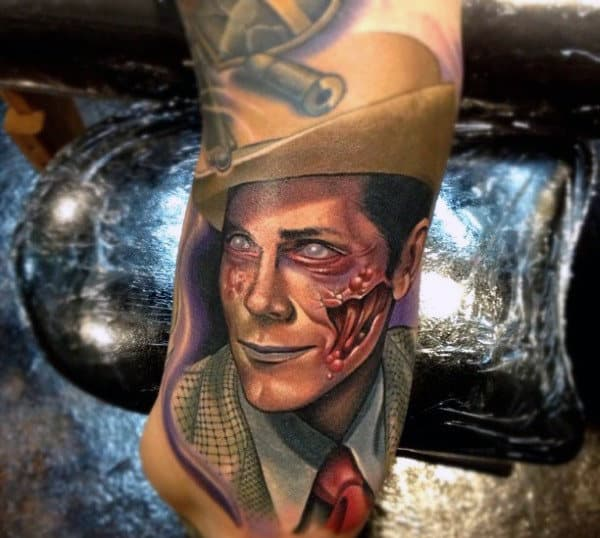 Graphic Neo Traditional Illustrative Tattoo Of Dead Zombie Man In Suit