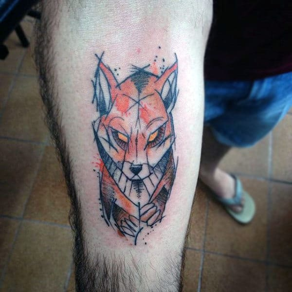 Graphical Art Fox Tattoo Males Forearms
