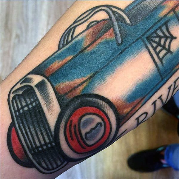 Graphical Blue Car Hot Rod Tattoo Mens Forearms