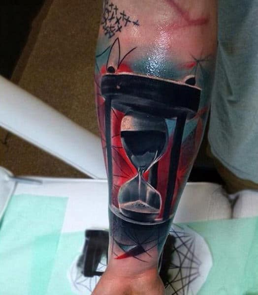Graphical Hour Glass Tattoo Guys Lower Forearm