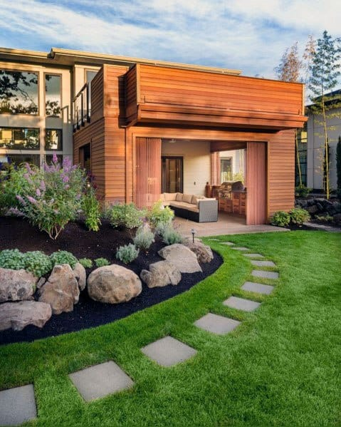 Grass Backyard Square Stepping Stone Ideas