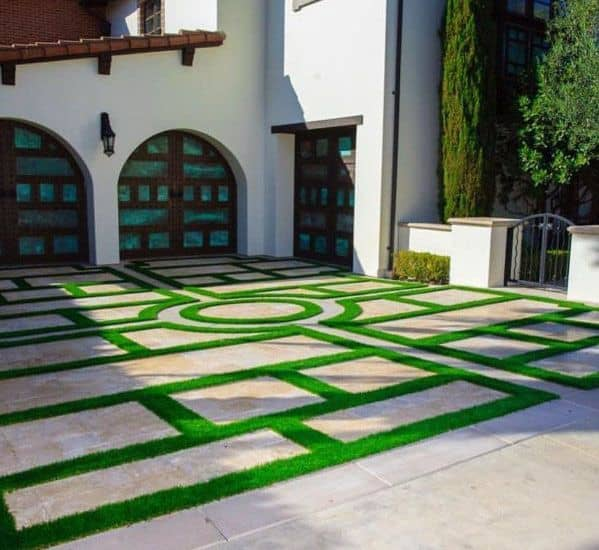 Top 50 Best Concrete Driveway Ideas - Front Yard Exterior ... on Backyard Ideas Concrete And Grass id=32975
