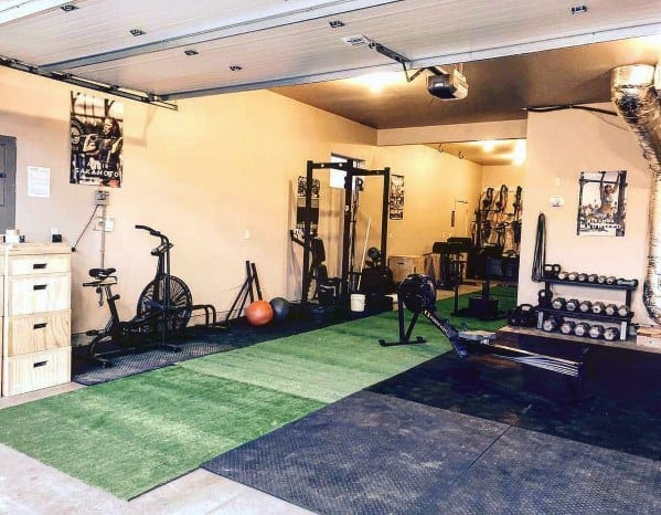 Grass Turf Garage Gym Ideas