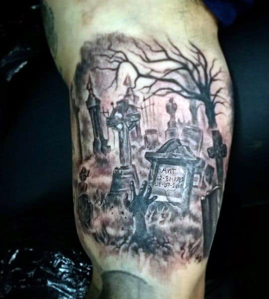 40 Graveyard Tattoo Designs For Men Tombstones And Earthy Ties