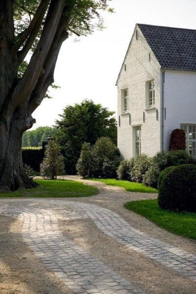 Gravel And Paver Stones Driveway Landscaping Ideas