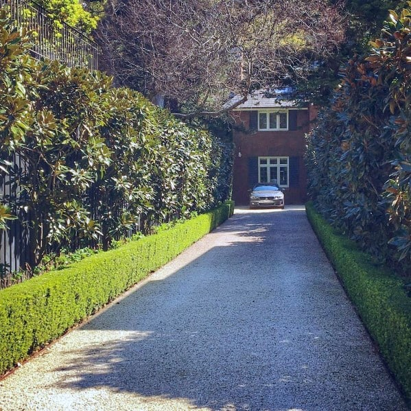 Gravel Driveway Ideas With Hedges Border