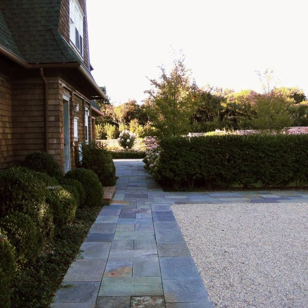 Gravel Driveway Ideas With Slate Edging Walkway