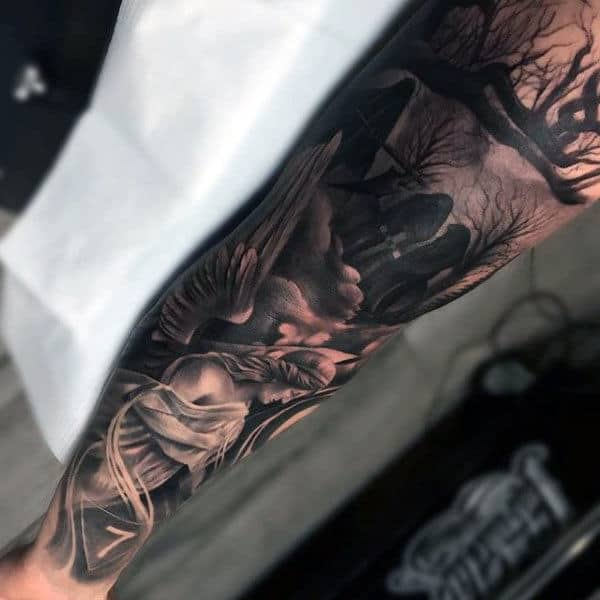 Graveyard Half Sleeve Forearm Tattoo For Men With Angel Design