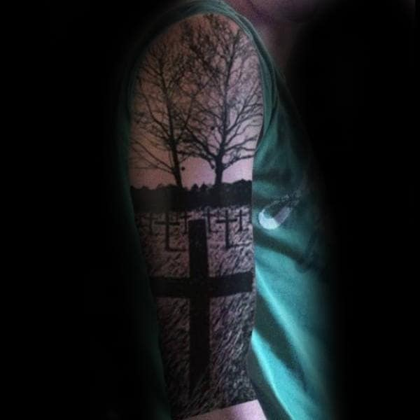 Graveyard Life Death Male Half Sleeve Tattoos