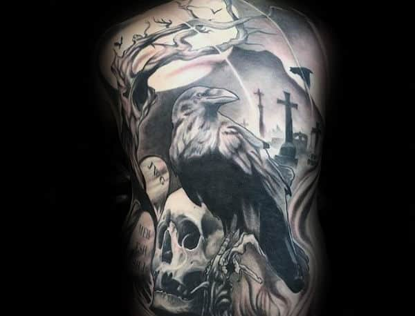 Graveyard Skull Crazy Guys Full Back Tattoos